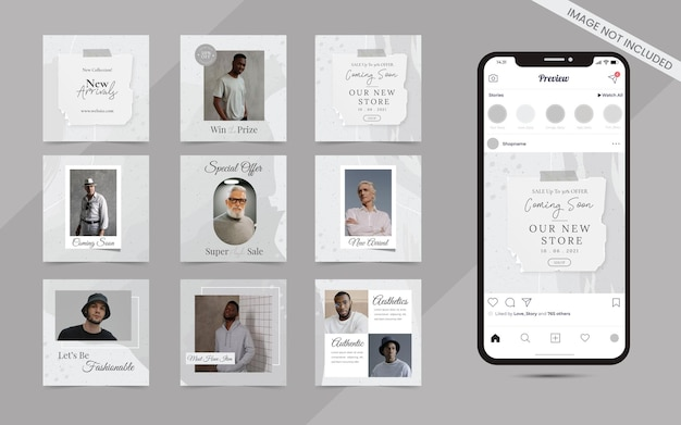 Minimalist abstract seamless collection of social media instagram and facebbok post banner for fashion sale template