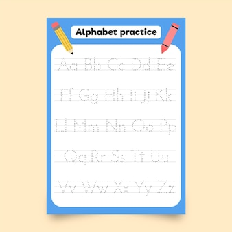 Minimalist alphabet tracing template with pencils