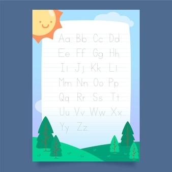 Modello di tracciamento alfabeto minimalista con sole sorridente