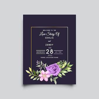 Минималистичный и красивый цветочный акварельный шаблон свадебного приглашения