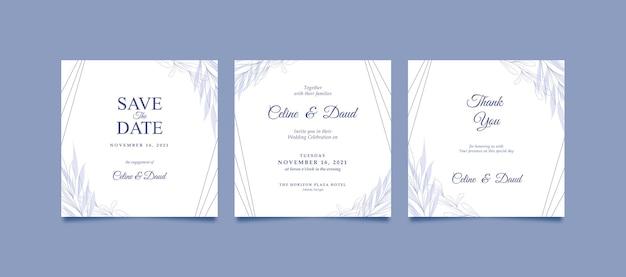 결혼식을위한 미니멀하고 아름다운 인스 타 그램 게시물