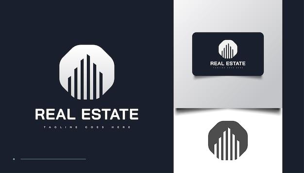 미니멀하고 깨끗한 부동산 로고 디자인 템플릿입니다. 건설, 건축 또는 건물 로고 디자인 템플릿