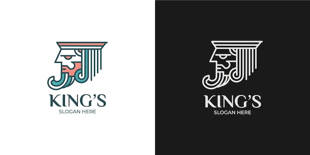 ミニマリストでエレガントなキングのロゴセット
