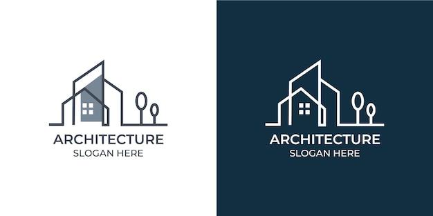 ミニマリストとモダンな建築のロゴセット