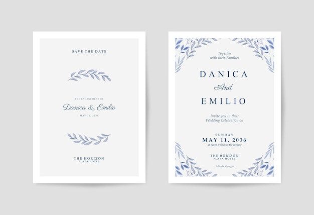 Минималистичное и простое свадебное приглашение с красивыми акварельными листьями