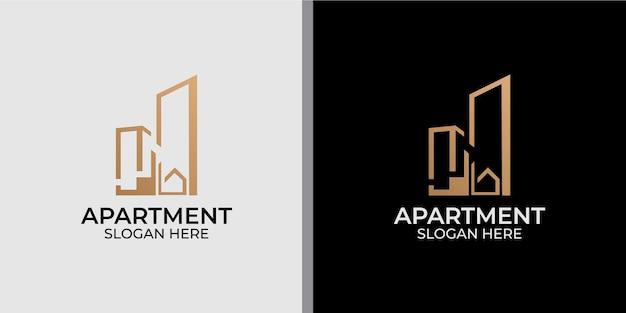 ラインアートスタイルのロゴデザインとミニマリストのアパートのロゴ