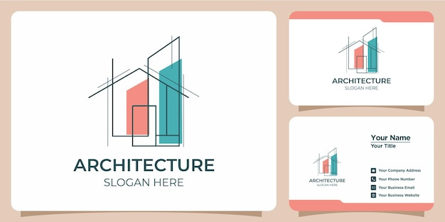 アートスタイルのロゴデザインと名刺テンプレートを備えたミニマリストの建築ロゴ
