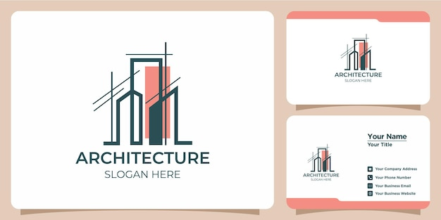 Minimalist architectural logo with art style logo design and business card template