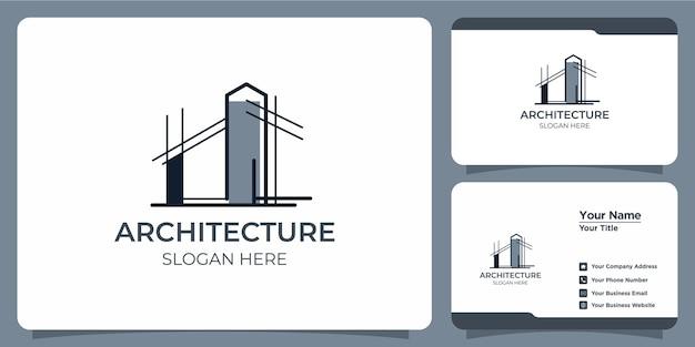 라인 아트 스타일 로고 디자인 및 명함 템플릿이 있는 미니멀리즘 아키텍처 로고