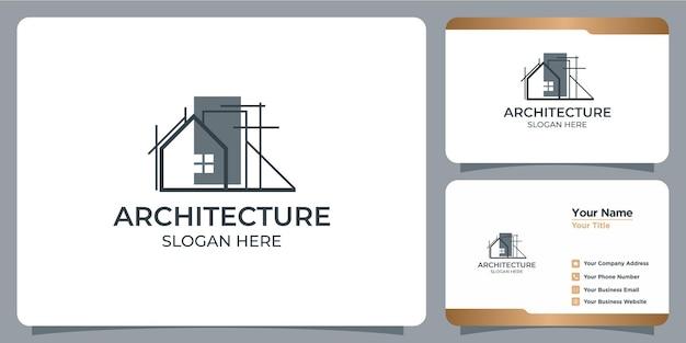 ラインアートスタイルのロゴデザインと名刺テンプレートとミニマリスト建築ロゴ