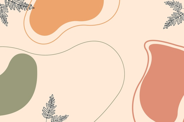 ミニマリストの背景線画花ミッドセンチュリー