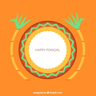 Minimalist background for pongal with sugarcanes