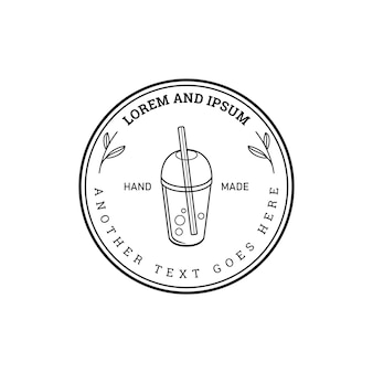 Minimalist badge boba tea cup logo design