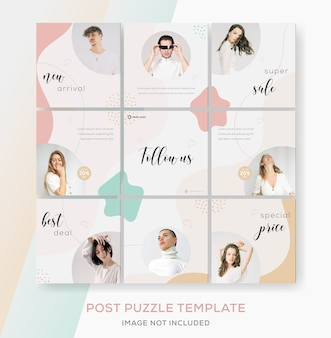 Minimalist banner collection puzzle for fashion sale