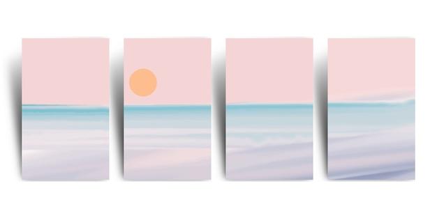 미니멀리스트 해변 풍경 아트 벽지 세트