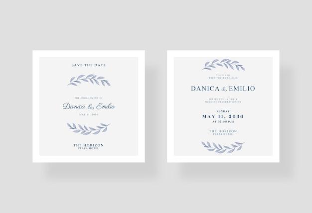 ミニマリストの美しくエレガントなウェディング カードの正方形のテンプレート