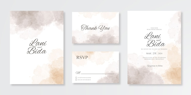 Minimalist and beautiful set of wedding invitation templates with watercolor splash