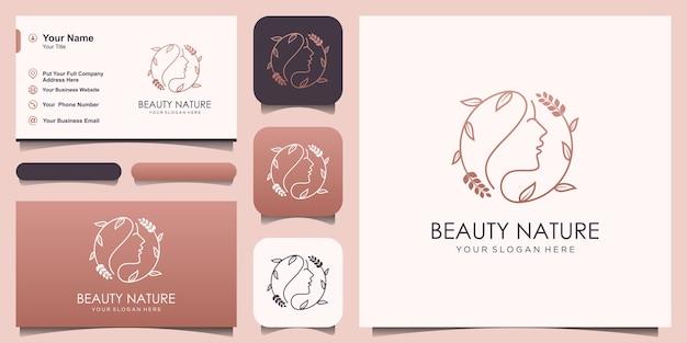 ミニマリストの美しい女性の顔の花サークルラインアートスタイルのロゴと名刺デザイン。