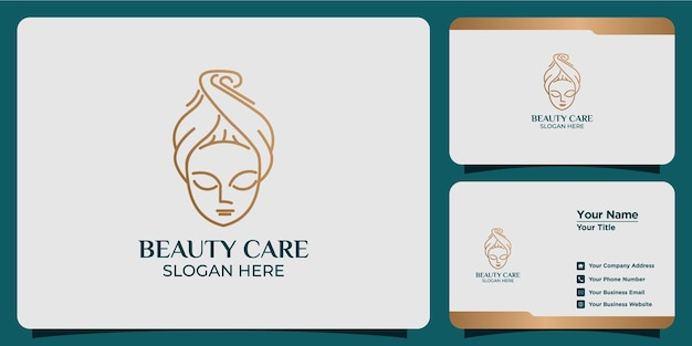 Minimalist beauty abstract logo salon and spa silhouette shape concept logo and business card template