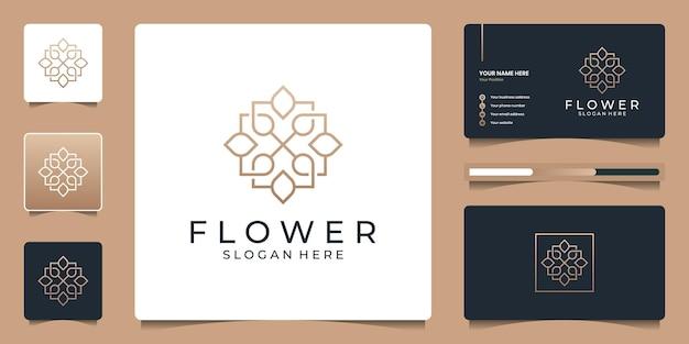 기하학적 개념의 미니멀리스트 아름다움 꽃 로고. 추상 럭셔리 꽃 로고 디자인 및 명함 브랜딩.