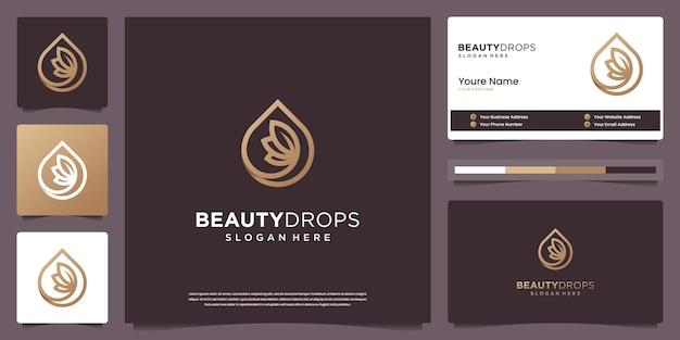 Минималистичная красота, золотая капля воды и оливковое масло, белый минималистичный логотип с листьями и дизайн визитной карточки