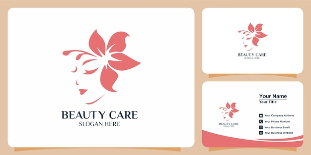 Minimalist beauty logo with modern style logo design and business card template