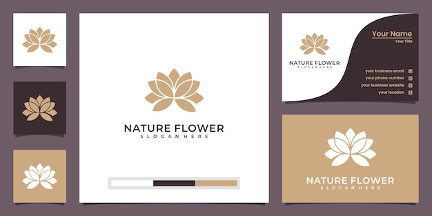 Minimalist beauty lotus flower with frame luxury logo and business card