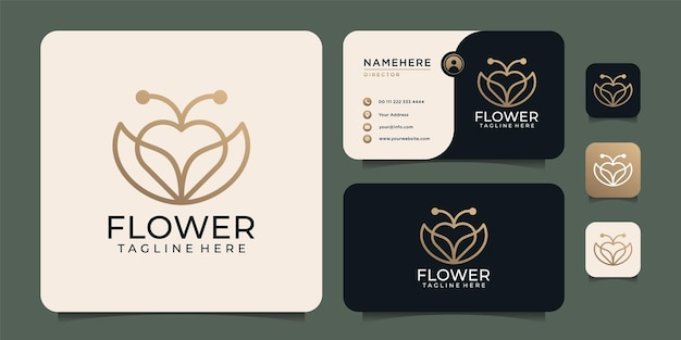 Minimalist beauty monogram love flower logo design elements with business card