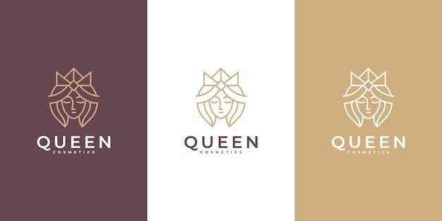 크라운 컨셉이 있는 미니멀리스트 뷰티 퀸 여성 살롱 로고 아이콘 라인 아트