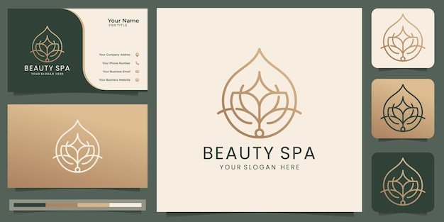 Minimalist beauty spa logo luxury abstract flower rose line design beauty salonline art fashion skin care essential oil cosmetic yoga and spa products logo and business card premium vector