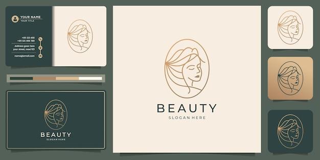 미니멀한 미인 얼굴 로고 디자인은 창의적인 라인 아트 스타일과 명함 템플릿을 사용합니다.