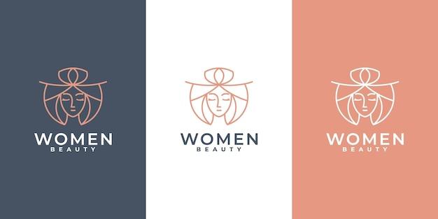 미니멀한 뷰티 여성 로고 스킨케어 로고 디자인, 스파 살롱, 선형 개념