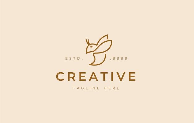 ミニマリストの蜂のロゴデザインアイコンテンプレート