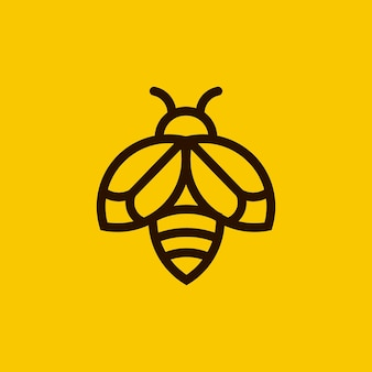 Minimalist bee outline logo
