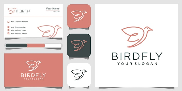 Минималистичный шаблон дизайна логотипа птицы