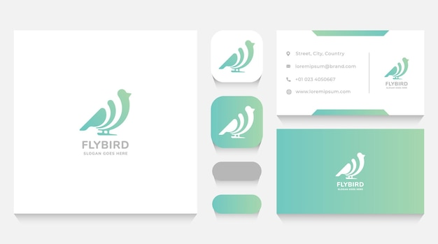 Minimalist bird logo template and business card
