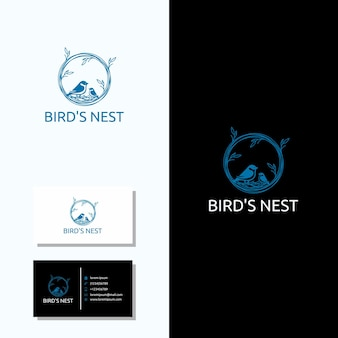 Minimalist bird nest logo