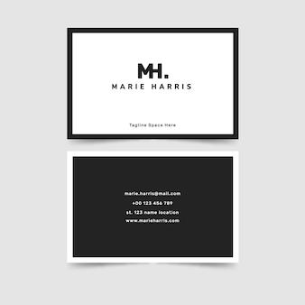 Минималистичный черно-белый шаблон визитки