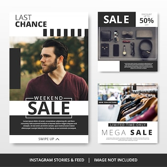 Minimalist black and white instagram post fashion sale template