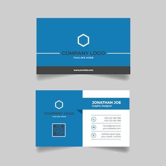 Minimalist blue business card modern template design premium vector