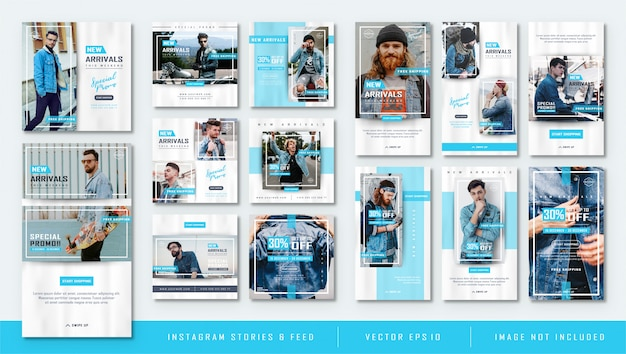 Minimalist blue instagram stories and feed post fashion sale template