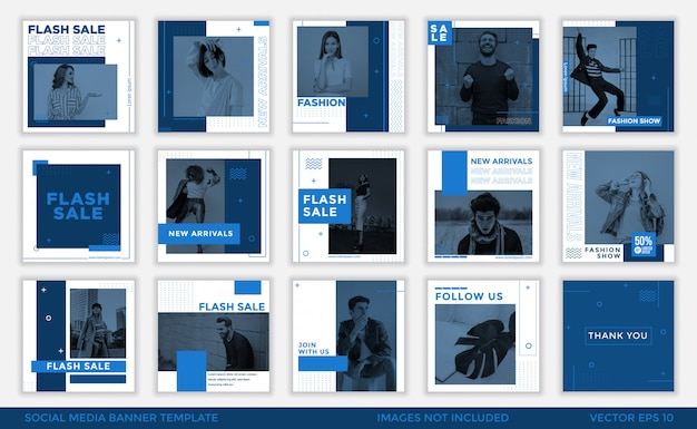 Minimalist blue social media banner  template collection