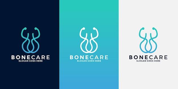 Minimalist bone care logo design for hospital, doctor, health, care community