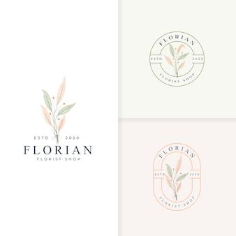 Minimalist botanical badge logo collection