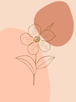 Minimalist botanical boho wall art with abstract shapes and flower trendy line art style