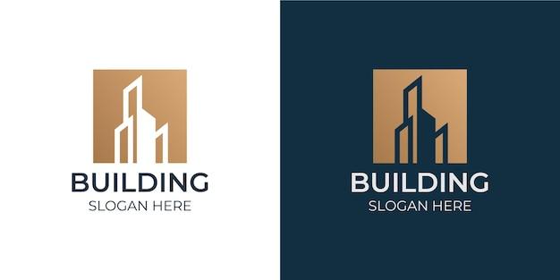 ミニマリストの建物のデザインのロゴセット