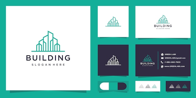 Minimalist building logo and business card.