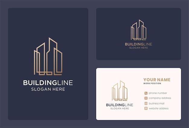 Minimalist building logo design in a golden color.