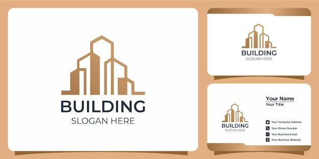 라인 아트 스타일 로고 디자인 및 명함 템플릿으로 설정된 미니멀리즘 건물 로고