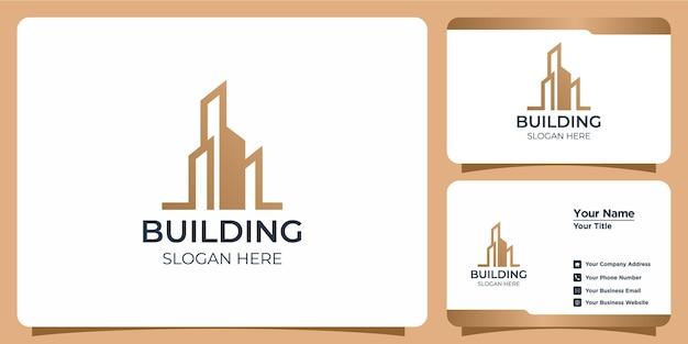 ラインアートスタイルのロゴデザインと名刺テンプレートで設定されたミニマリストの建物のロゴ